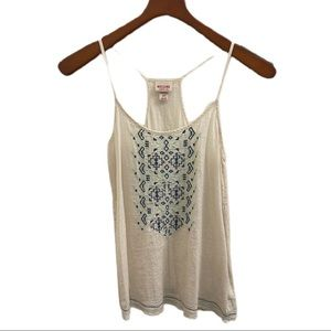 Boho tank top size small white with blue pattern